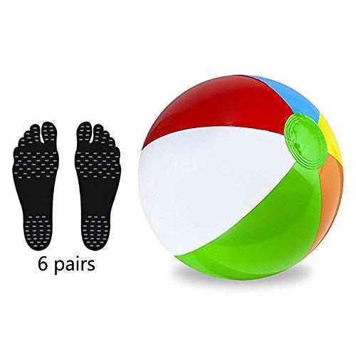 Xueliee Panel Beach ball-barefoot Sohlen Fuß Polsterung Aufkleber Einlagen unsichtbar Schuh Wasser, M-6 Pairs Feet pads/Black+Beach ball (Ball-des-fuß-pads)