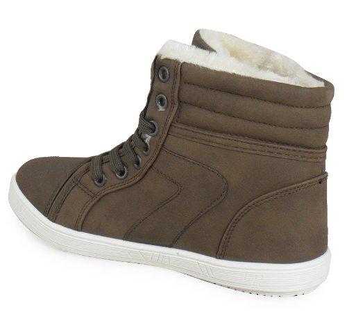 Loudlook Nouveau Dames Bottines Femmes De Filles Salut Top Fourrure Formateurs Hiver Chaussures Plates Taille 3-8 brown