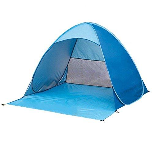 VADOO Familien Portable Beach Zelt in Blau, Outdoor Tragbar Wurfzelt, Automatik Pop up Strandmuschel mit Boden Sonnenschutz UV-Schutz Windschutz mit Tragetasche für 2-3 Personen zum Outdoor, Angeln, Strand, Terrasse oder Garten