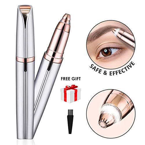 LIUMY Augenbrauen Rasier Eingebautes Helles I Eyebrows Hair Remover, Augenbrauentrimmer I Augenbraue Trimmer (Rose Gold) mit einer Reinigungsbürste -