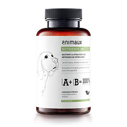 animaux - nutrients 365 für Hunde | Vitamine zur Unterstützung der Vitalität und für EIN schönes Fell | Bewährte Nährstoffe für BARFer | 60 Tabs