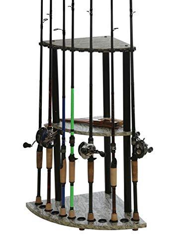 Organized Fishing- Corner Floor Fishing Rod Rack for Compact Vertical Rod Storage and Organization, 12 Rod Capacity, 15.75
