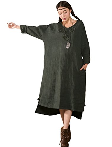 MatchLife Damen Hoch Niedrig Kleider mit Crochet Muster Armee Grün