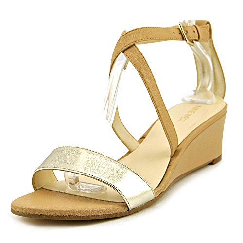 Nine West Lacedress Leder mit Keilabsatz Natural/Gold Leather