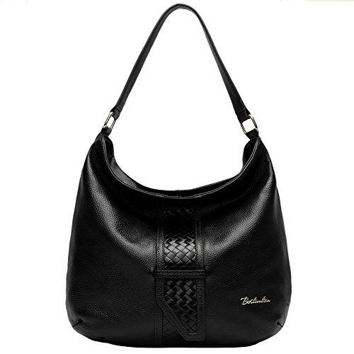 BOSTANTEN Designer Leather Tote Satchel Top-Handle Borse A Spalla Per Le Donne Nero Nero