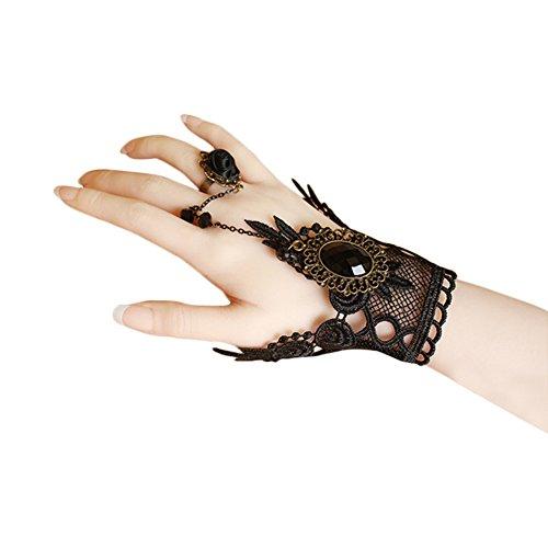 Jingyuu guantes mitones encaje guantes dedos boda