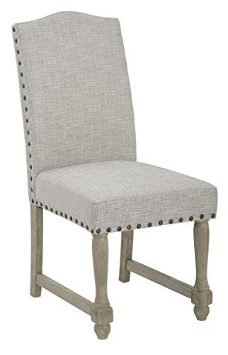 Kingman Dining Chair with Antique Bronze Nailheads and Brushed Legs Edward Flannel Fabric by Office Star