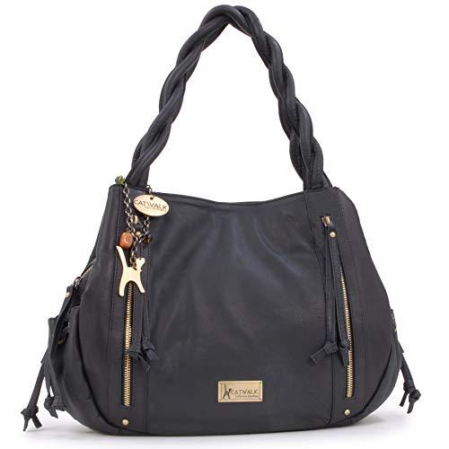 Catwalk Collection Handbags - Leder - Umhängetasche/Shopper/Tote - CAZ - Schwarz