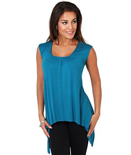 KRISP® Femmes Tunique Top Long Asymétrique Uni Classsique Bleu Pétrole (6679)