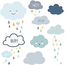 Stickers nuages bleus et gouttes d\'eau - Stickers Lilipinso