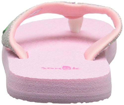 Sanuk Kids Girls' Yoga Glitter Flip Flop (Toddler/Little Kid/Big Kid) White / Light Pink
