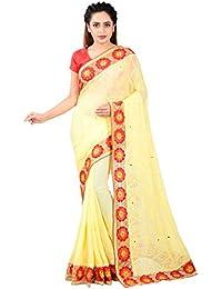 Nand Designers Women's Nazmin Saree (Yellow And Red)