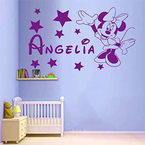 wukongsun Nombre Personalizado Mini Vinilo Verde Etiqueta de la Pared Pegatina habitación de los niños niña decoración de la habitación púrpura 30x53cm