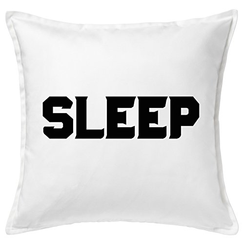 SLEEP Black Big Word Letters Home Good Quality White Cushion Cover Cuscini