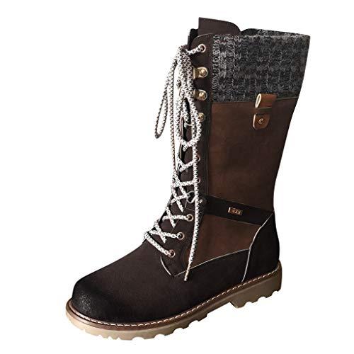 DOLLAYOU Stiefel Damen Mit Absatz Blockabsatz Leder Riemchen Wasserdicht Reißverschluss Flach Boots Elegant Vintage Herbst Winter Stiefeletten Warme