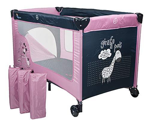 Chiccot - Una Cuna De Viaje Para Niños Con Colchón Para Dormir. Portátil y Plegable. 124 x 68 x 74 cm (Rosa)