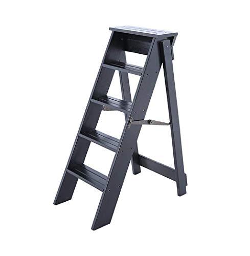 SEEKSUNG Klapptritte Massivholzklappleiter Hocker Bibliothek Multifunktions-Stehleiter/Treppe Stuhl mit 5 Schritten für Heim