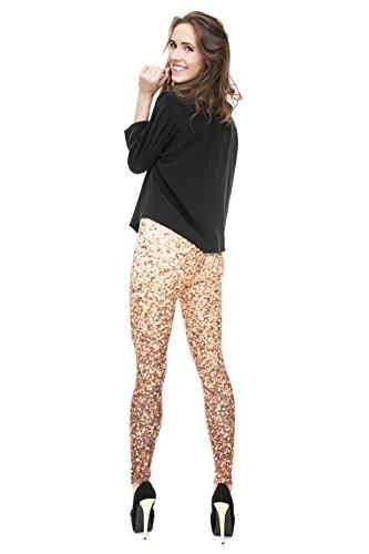 Damen Sport Leggings Hipster Jogahose Muster Sporthose Mädchen Lang Treninganzug Blogger Fullprint Onesize Glitter