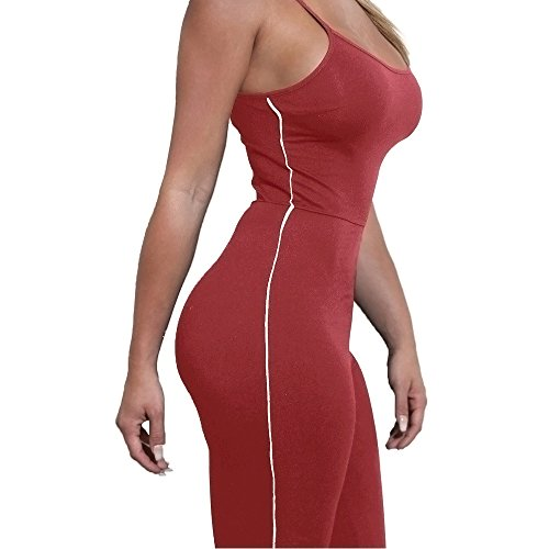 Lrud Sexy Damen Bodycon Lange Overall Ärmellos Abend Party Hohe Taille Strampler Playsuit Jumpsuit Burgundy