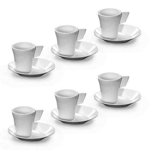Rb infrangibile tazzine da caffe con piattino bianca plastica 9cl, set di 6