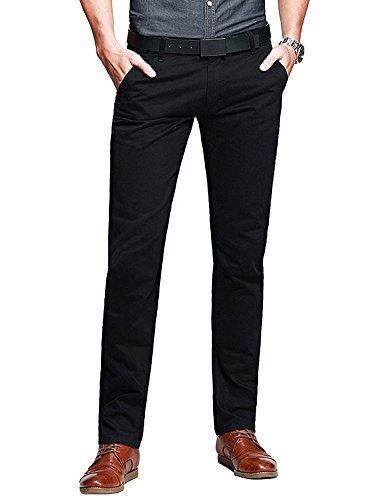 OCHENTA Mens Casual Slim-Tapered Flat-Front Trousers Black Lable 34