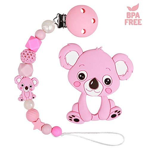 Catenella Portaciuccio Catena Bambino Ciuccio Clip Procione Koala Elefante Massaggiagengive Silicone Dentizione per Ragazzi e ragazze Senza BPA (Koala)