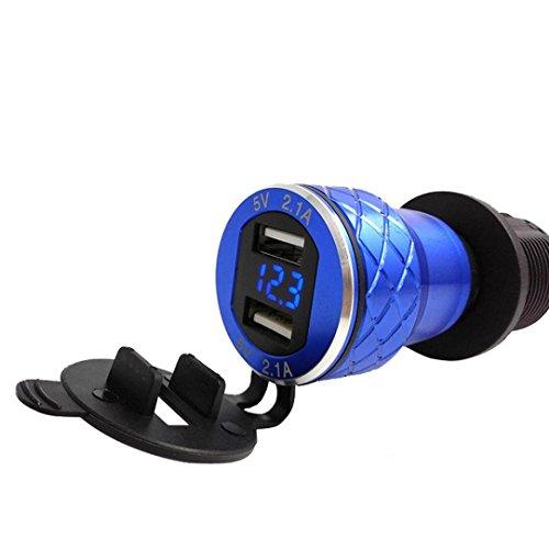 kingko® 4.2A Aluminium Motorrad Dual USB Ladegerät DIN Buchse Voltmeter für Motorrad für Hella/DIN oder für BMW Motorradsteckdosen hergestellt. (Blau) Shell Usb