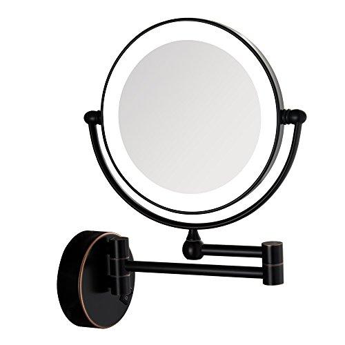 GURUN Schwarz Kosmetikspiegel mit LED Beleuchtung und 1-/ 5-facher Vergrößerung aus Kristallglas,...