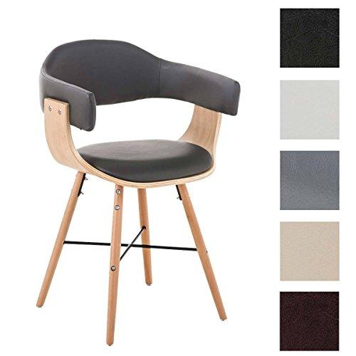 CLP Chaise de visiteurs moderne BARRIE V2, nature, avec accoudoirs et très bon rembourrage du siège, piétement en bois gris
