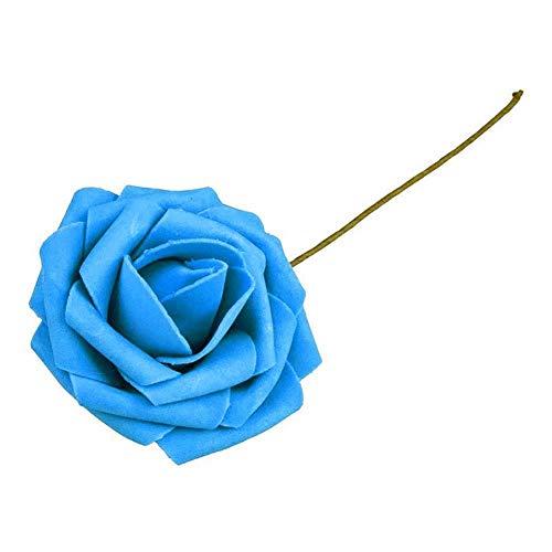 WDDqzf ornament Skulptur Figur Künstliche Rose Blume Pe-Schaum, 1 Bouquet Pe-Schaum 10 Köpfe Künstliche Gefälschte Rose Blume Braut Hochzeit DIY Decor - Royal Blue (Blumen Blue Gefälschte Royal)