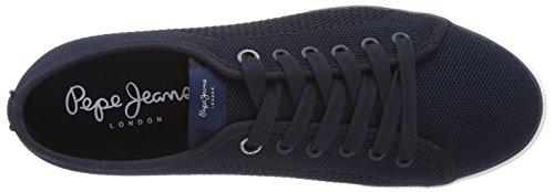 Pepe Jeans London Aberman Knit, Scarpe da Ginnastica Basse Uomo Blu (Marine)