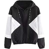 JiaMeng Remiendo de Manga Larga Skinsuits Finos Bolsillos con Cremallera con Capucha Sport Coat Otoño-Invierno Talla Grande Hoodie