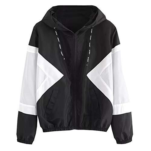 BHYDRY Frauen Langarm Patchwork Dünne Skinsuits Mit Kapuze Reißverschluss Taschen Sport ()