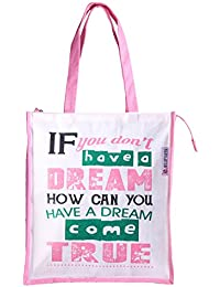 Jute Bag Big For Grocery Shopping ,Multi Purpose Bag, Big Tote Bag Pink & White