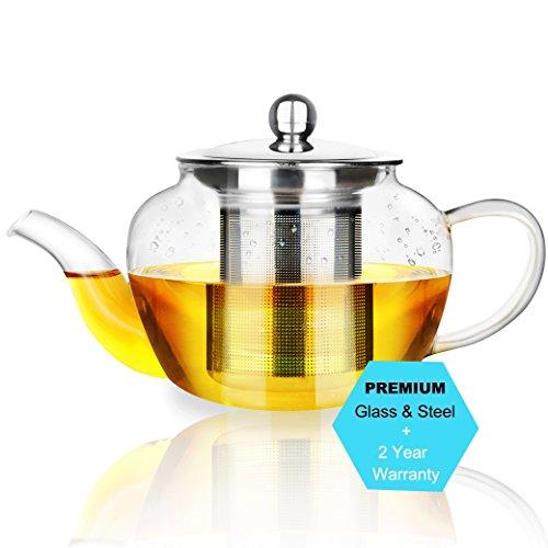 AckMond 600 ml Clear Glass Teapot in Apple Shape...