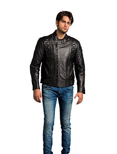Urban Leather UR-57, Chaqueta de Motocicleta para Hombre, Negro, 5XL