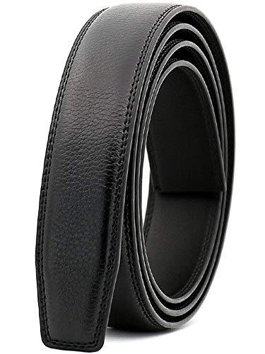 Wetoper hombres moda lujo cuero cintura cinta automática cintura correa sin Hebilla, 3,0 cm de ancho (Color 1, 130cm/34-44 cintura ajustable)