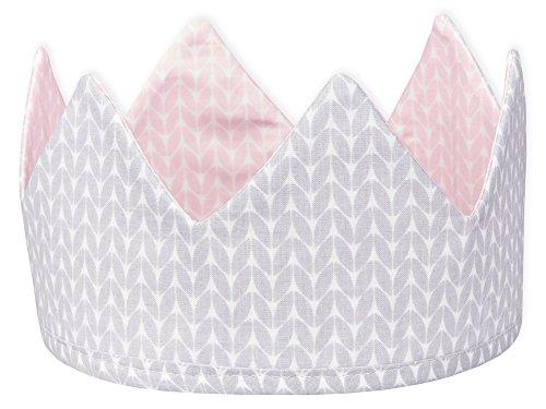KraftKids Stoffkrone kleine Blätter rosa auf Weiß weiße Punkte auf Grau, stylische Geburtstags-Krone für Kinder mit Klettverschluss, beidseitig mit Muster verziert