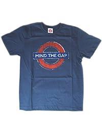 ec0c790a5d2e Metropolitana di Londra - Mind The T-shirt Distressed Gap Medaglione (Navy)