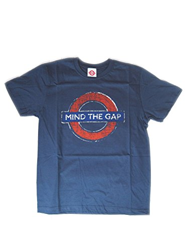 london-underground-mind-the-gap-t-shirt-distressed-blau-medium
