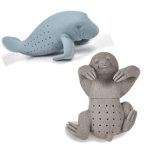 Niedliches Tier Manatis und Faultier Form Silikon TeebeutelHalter Tasse Becher Geschenk-Set (BPA-frei) für Losen Tee Tee-Infuser