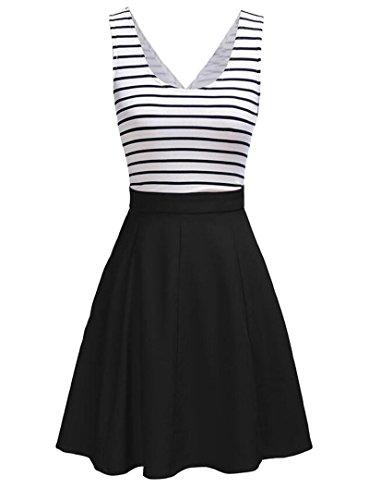 U8Vision Damen V-Ausschnitt Rückenfrei Gestreiftes Strickkleid Rock Kleider Casual Kleider Schwarz Gr.XL (Rock Gestreiften)