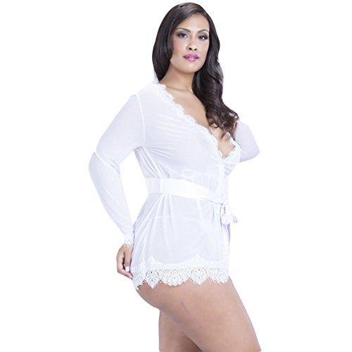 La vogue Damen Spitzen Kimono Nachtwäsche Set mit 3 Teile Weiß