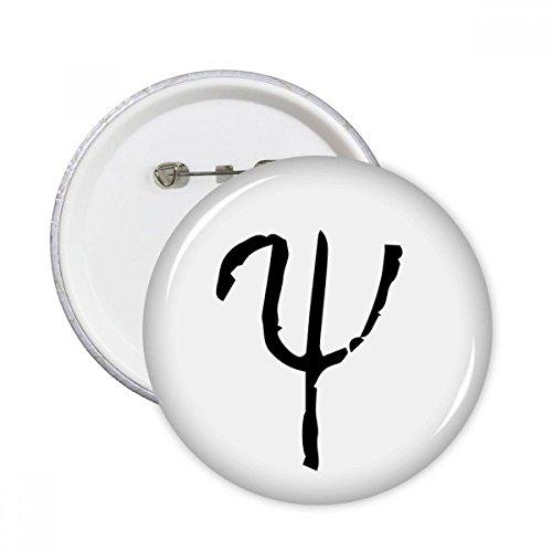 DIYthinker Greek Alphabet Psi Schwarze Silhouette Runde Stifte Abzeichen-Knopf Kleidung Dekoration Geschenk 5pcs Mehrfarbig XL