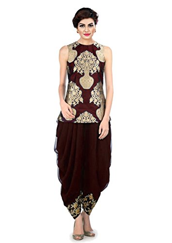 Fabkaz's women Georgette & Jacquard Embroidery Dhoti pant and jecket(Maroon,Gold)