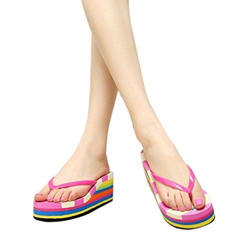 Dorame Sandali da Donna, Scarpe Estive Strass Sandali Donna Bassi Casual Perlina Stile Mare Vacanza - Colorful Rosso