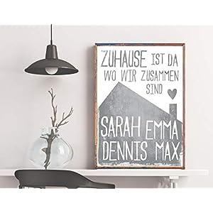 Dein Familien-Poster: Zuhause ist da wo wir zusammen sind - graues Haus - mit den Namen Deiner Familienmitglieder