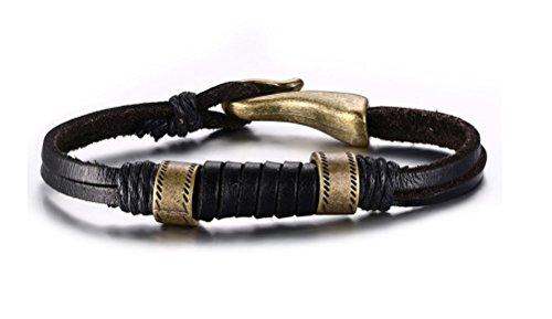 vnox Jewelry Herren Schwarz Geflochten Seil Leder Armband, Bronze Fisch Haken Verschluss