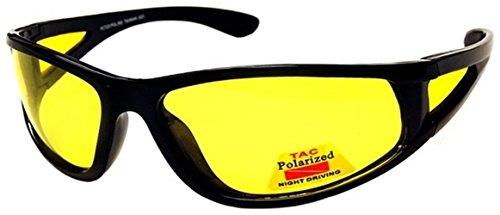 I-Sential Polarisierte Nachtsichtbrille Autofahren Matt Scharwz, Gelben Gläser Nachtsicht Brille Sonnenbrille + Fall und Tuch