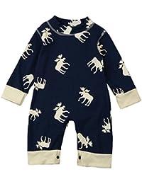 Xiahbong Niño Pequeño Mameluco Bebé Mono Pijamas Trajes De Manga Larga Ciervos
